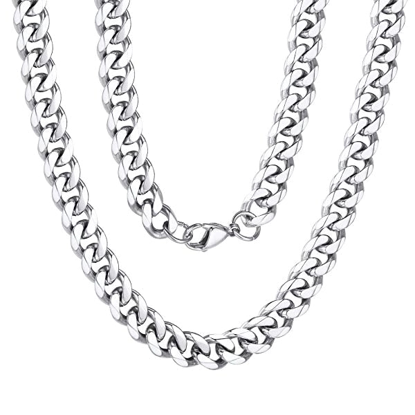 Classy Men 8mm Silver Curb Chain Necklace