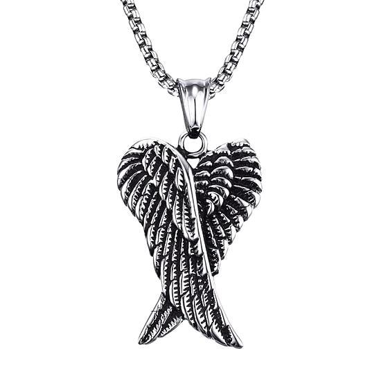 Angel Wings Pendant Necklace For Men On A White Background
