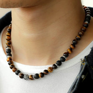 """NEW. A LOVELY WHITE TIGERS EYE BEAD  NECKLACE ON AN 18/"""" CHAIN"""