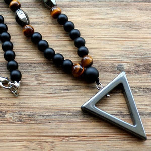 Stone bead necklace with hematite triangle pendant