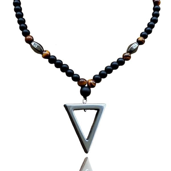 Beaded triangle pendant necklace for men