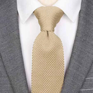 Classy Men Solid Beige Knitted Tie