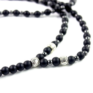 Classy Men Long Black Beaded Arrow Necklace