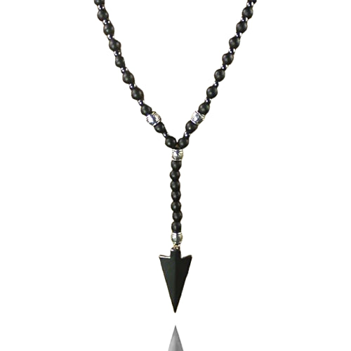 Beaded black arrowhead necklace for men