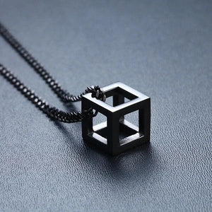 Black cube pendant on a black curb chain