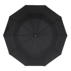 Black Automatic Windproof Folding Umbrella Vented Double Canopy