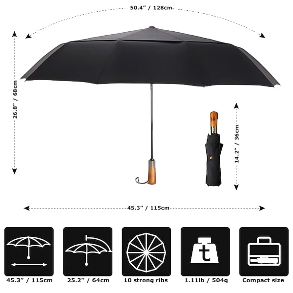 Details And Dimensions of the Black Automatic Windproof Folding Umbrella