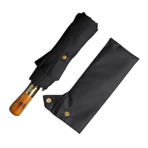 Black Automatic Windproof Folding Umbrella with a Magnetic Travel Sleeve