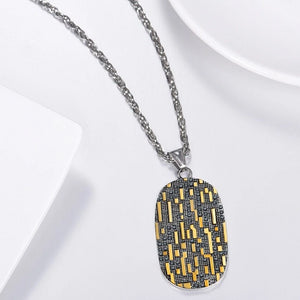 Mens dog tag pendant necklace with gold and black bit code pattern