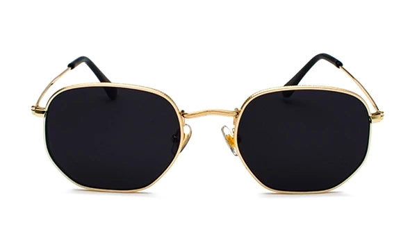 Classy Men Black Gold Hexagonal Sunglasses