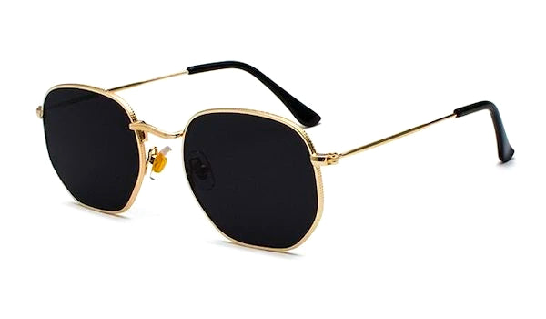 Black and gold square hexagon sunglasses for men