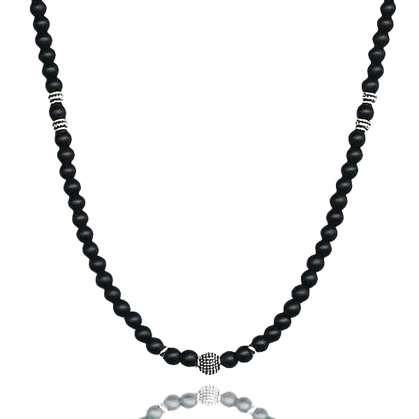 Black onyx bead necklace for men