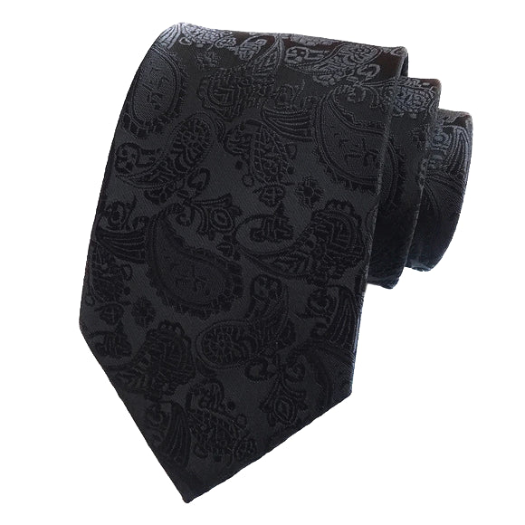 Classy Men Simple Black Paisley Silk Tie