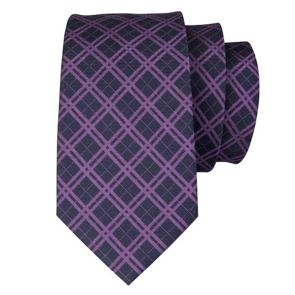 Black and purple tartan check silk tie