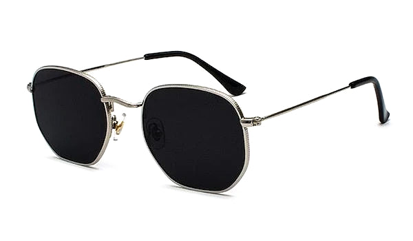 Black and silver square hexagon sunglasses for men