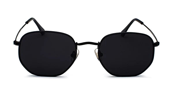 Classy Men All Black Hexagonal Sunglasses