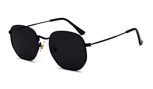 Black square hexagon sunglasses for men