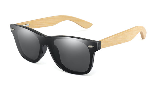Mens bamboo wood sunglasses with flat black mirror lens