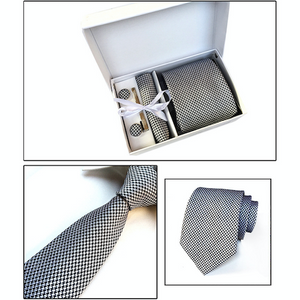 Black & White Houndstooth Suit Accessories Set for Men Including A Necktie, Tie Clip, Cufflinks & Pocket Square