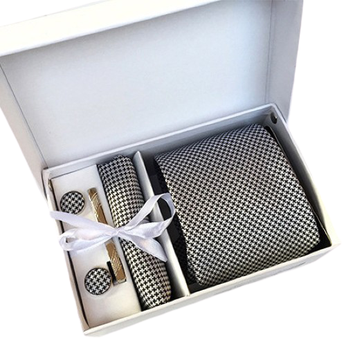 Black & White Houndstooth Suit Accessories Set With Necktie, Tie Clip, Cufflinks & Pocket Square