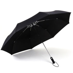 Black automatic windproof umbrella open