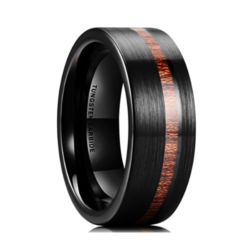 Classy Men Black Brushed Koa Wood Ring - Classy Men Collection