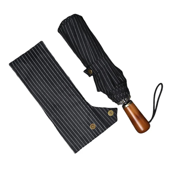 Black striped folding windproof umbrella