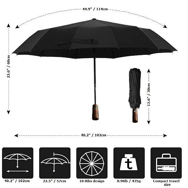Size details of the black wooden handle travel umbrella