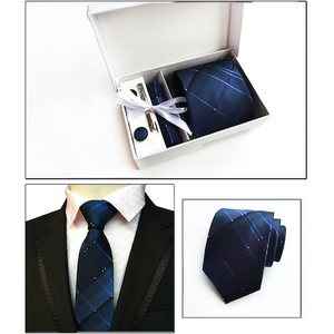 Blue Checked Suit Accessories Set for Men Including A Necktie, Tie Clip, Cufflinks & Pocket Square