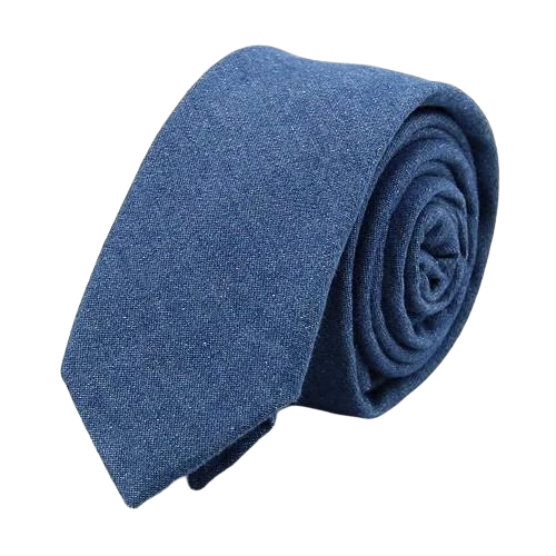Classy Men Light Blue Denim Cotton Skinny Tie