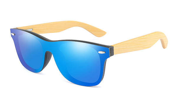 Mens bamboo wood sunglasses with flat blue mirror lens