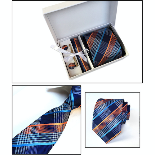 Blue Orange Plaid Suit Accessories Set for Men Including A Necktie, Tie Clip, Cufflinks & Pocket Square