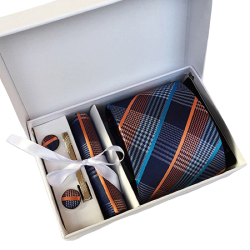 Blue Orange Plaid Suit Accessories Set With Necktie, Tie Clip, Cufflinks & Pocket Square