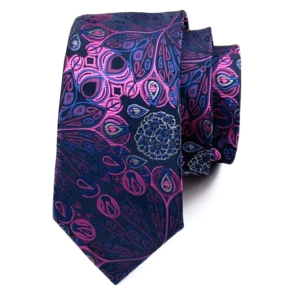 Blue pink silk tie with peacock feather and flower pattern