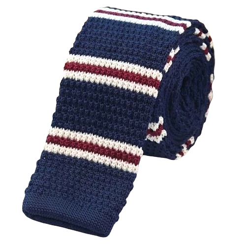 Classy Men Blue Red White Square Knit Tie