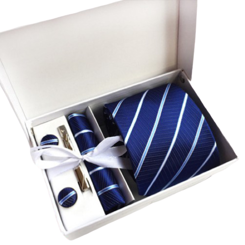 Blue Striped Suit Accessories Set With Necktie, Tie Clip, Cufflinks & Pocket Square
