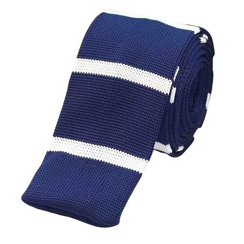 Classy Men Blue Striped Square Knit Tie