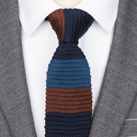 Classy Men Blue Brown Striped Knitted Tie