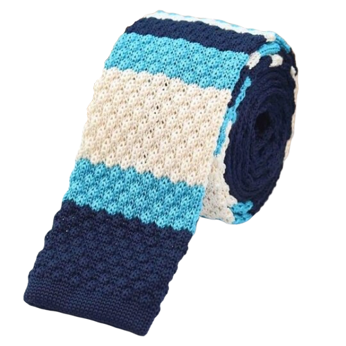 Classy Men Blue White Turquoise Square Knit Tie