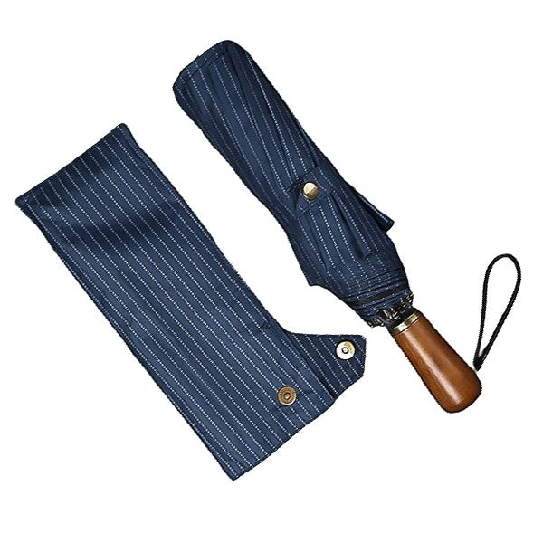 Blue striped folding windproof umbrella