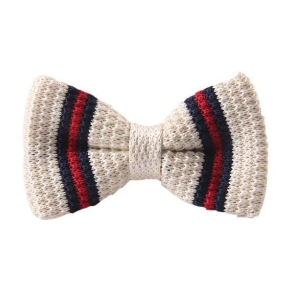 Classy Men Knitted Bow Tie White/Red