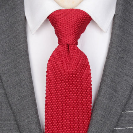 Classy Men Solid Bright Red Knitted Tie