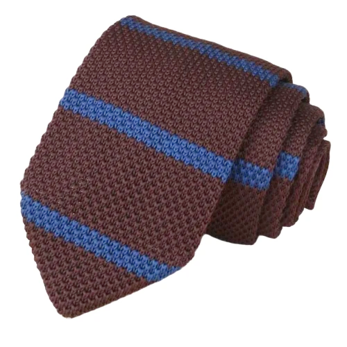 Classy Men Brown Striped Knitted Tie