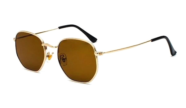 Brown and gold square hexagon sunglasses for men