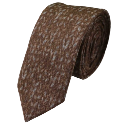 Classy Men Brown Knit Cotton Necktie