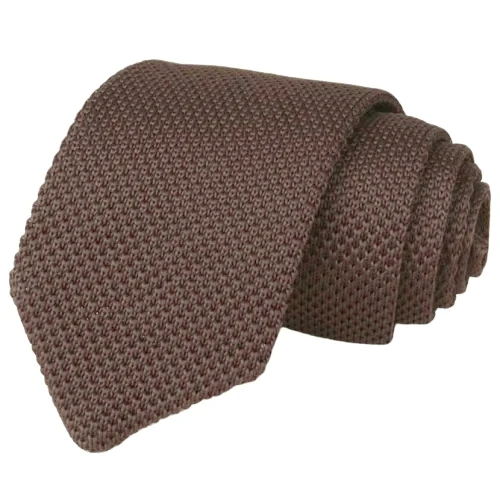 Classy Men Solid Brown Knitted Tie
