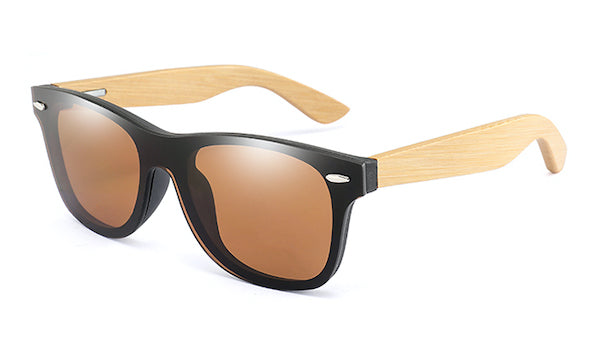Mens bamboo wood sunglasses with flat brown mirror lens