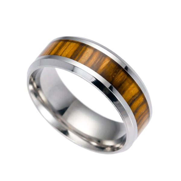 Classy Men Silver Light Wood Inlay Ring