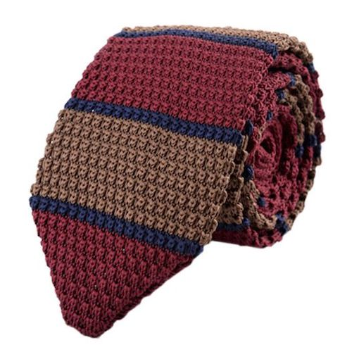 Classy Men Red Brown Blue Knitted Tie
