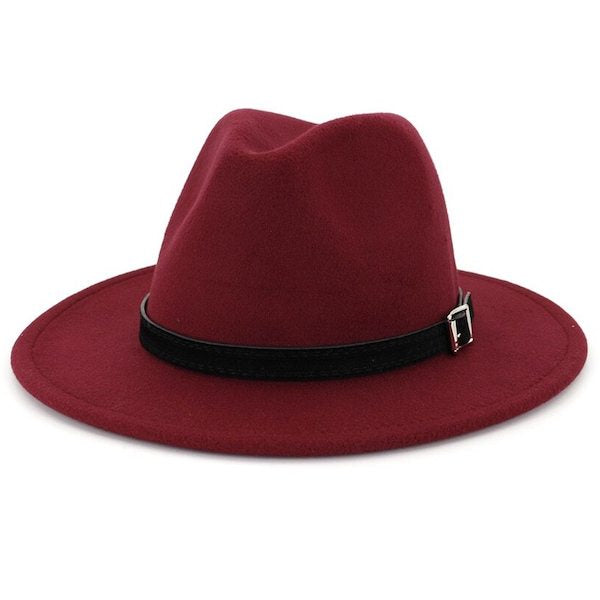 Classic burgundy red fedora hat for men